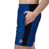 "ATK Apparel athletic shorts for men 5'8"" and under. Performance Shorts in Blue. Side view with secure zipper pockets."