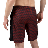 "ATK Apparel athletic shorts for men 5'8"" and under - Performance Shorts in Red. Back view."