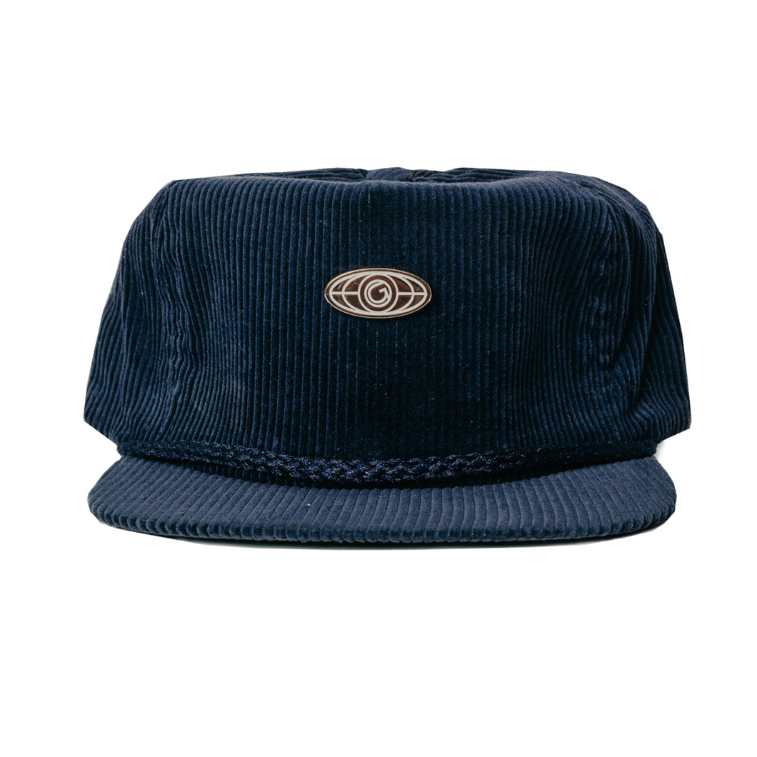 Vintage Corduroy  Leather Strapback w/ pin - Navy