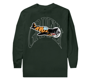Warplane Long Sleeve Tee - DK GREEN