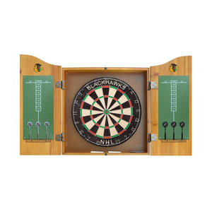 Imperial Chicago Blackhawks Dartboard Cabinet Set-epicrecrooms.com