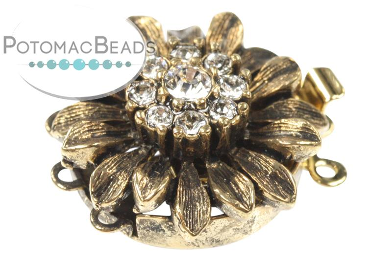 ClaspGarten Clasp Gold Plated Crystal Sunflower 3-loop (23kt Gold Plated)
