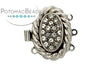 ClaspGarten Clasp Silver Plated Coiled Crystal Nest 3-loop (Rhodium Plated)