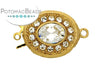 ClaspGarten Clasp Gold Plated Oval Crystals 1-loop (23kt Gold Plated)