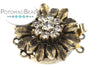 ClaspGarten Clasp Gold Plated Crystal Sunflower 3-loop (Antique 23kt Gold Plated)