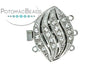 ClaspGarten Clasp SP Grooved Marquise Crystal 3-loop (Rhodium Plated)