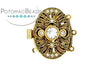 ClaspGarten Clasp Gold Plated Magic Door Oval with Crystals 22x16mm (Ancient 23kt Gold Plated)