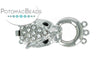 ClaspGarten Clasp Silver Plated Dragon with Crystals 3-loop 32x15mm (Rhodium Plated)