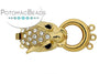 ClaspGarten Clasp Gold Plated Dragon with Crystals 3-loop 32x15mm (23kt Gold Plated)