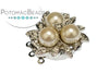 CG Clasp Pearl Bird's Nest SP 3-Strand (Rhodium Plated)