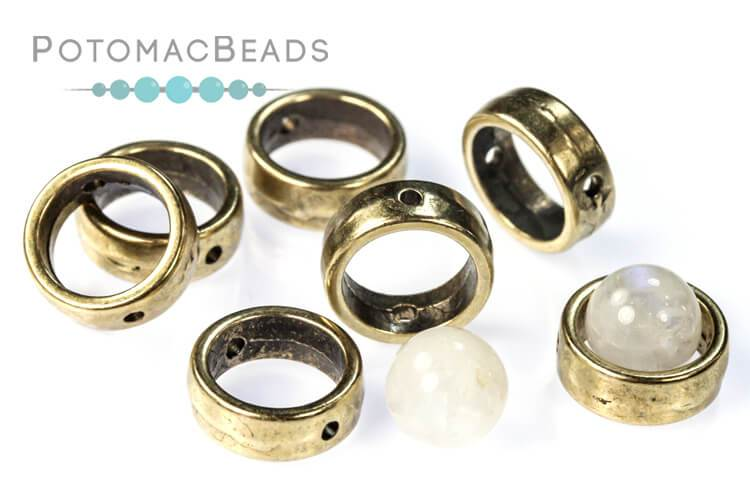 Halo® Bead - 1-Hole Antique Brass