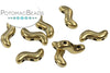 SnakeTrio Antique Brass 3-hole S Shape Bead