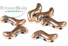 SnakeTrio Antique Copper 3-hole S Shape Bead