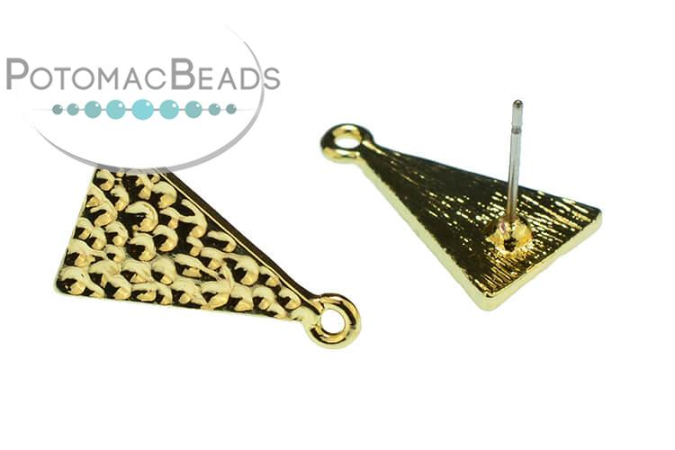 Gold Plated Earring Post - Triangle