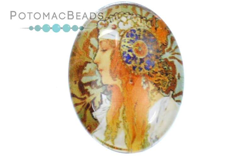 Glass Cabochon - Goddess Ceres 18x25mm