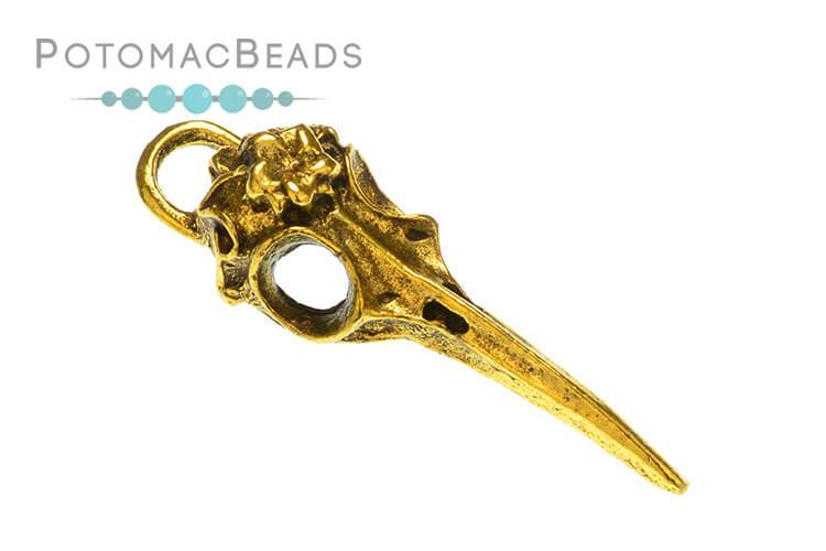 Gold Plated Bird Skull Steampunk Charm