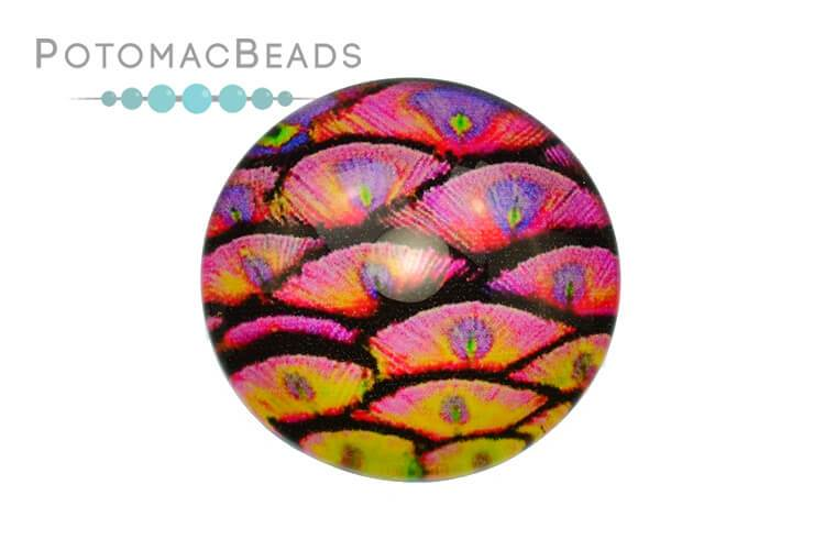 Glass Cabochon - Peacock Pink 25 mm