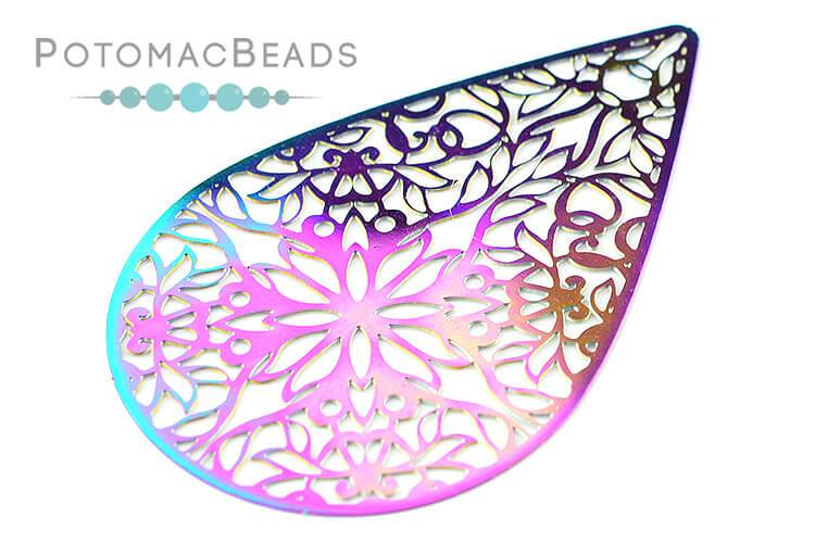 Rainbow Filigree Drop 52x35mm Stainless Steel