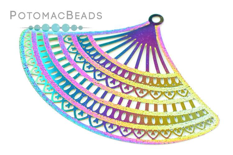 Rainbow Filigree Fan 53x35mm Stainless Steel