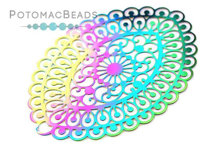 Rainbow Filigree Oval 55x40mm Stainless Steel