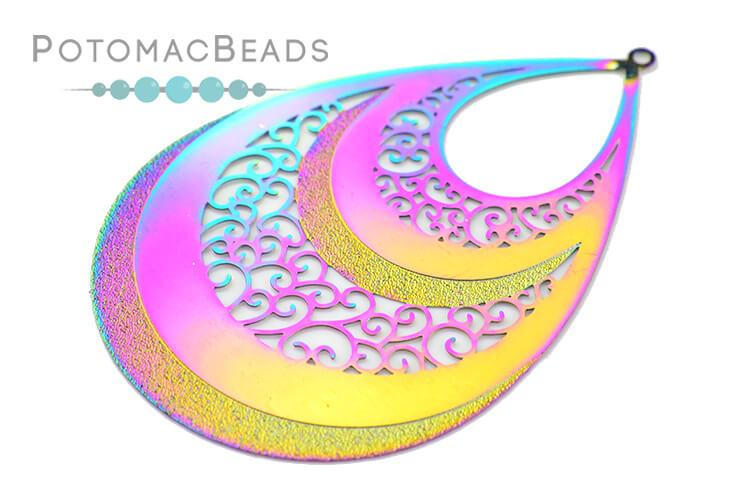 Rainbow Filigree Drop 54x38mm Stainless Steel