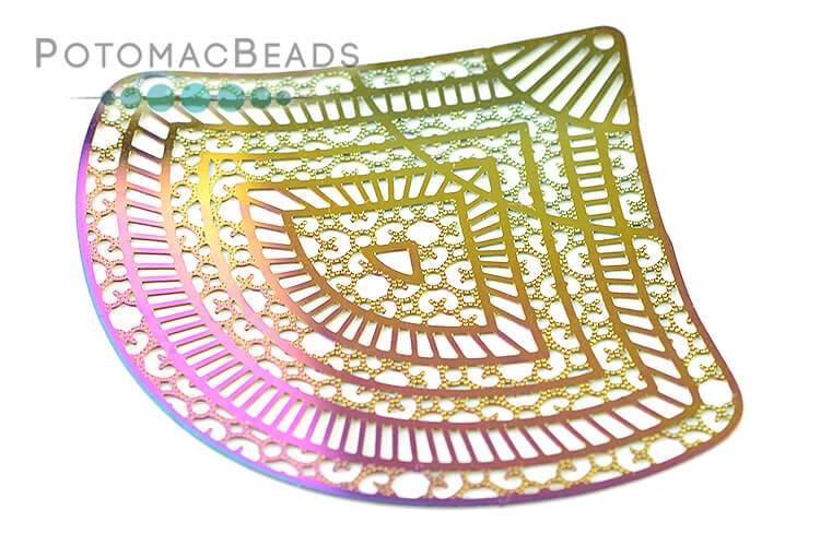Rainbow Filigree Fan 55x62mm Stainless Steel