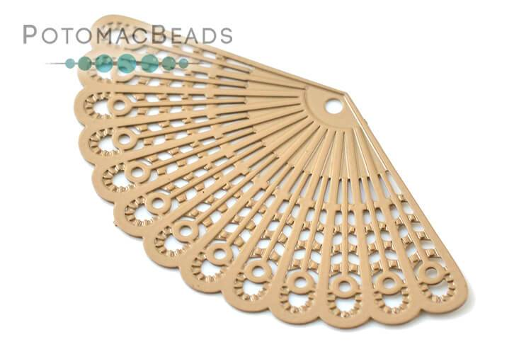Brass Filigree Fan - Beige 20x39mm