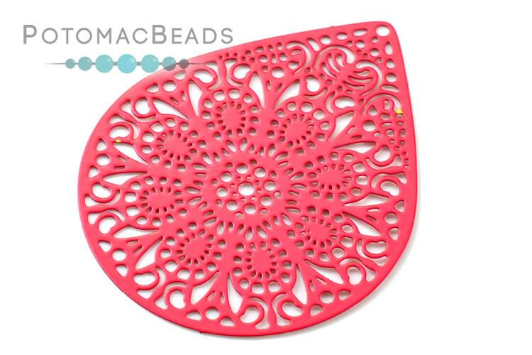 Brass Filigree Drop 39x49 mm - Coral