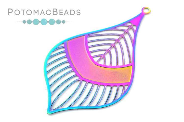 Rainbow Filigree Leaf 55x30mm Stainless Steel