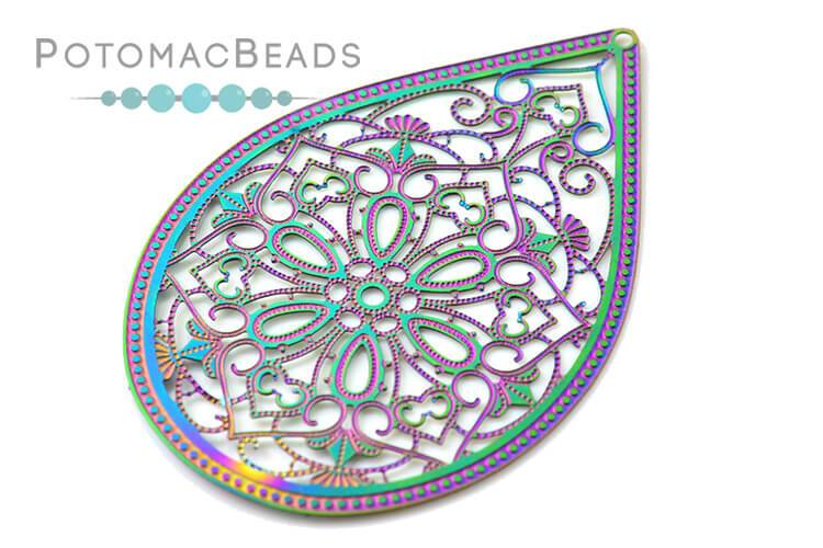 Rainbow Filigree Drop 45x32mm Stainless Steel