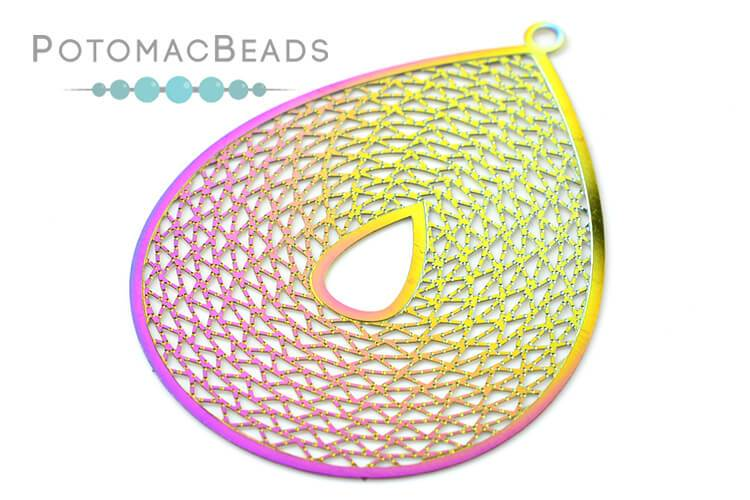 Rainbow Filigree Drop 45x35mm Stainless Steel