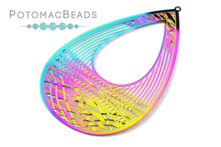 Rainbow Filigree Drop 78x50mm Stainless Steel