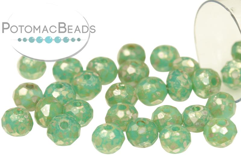 Potomac Crystal Rondelles - Jade Picasso 3x4mm
