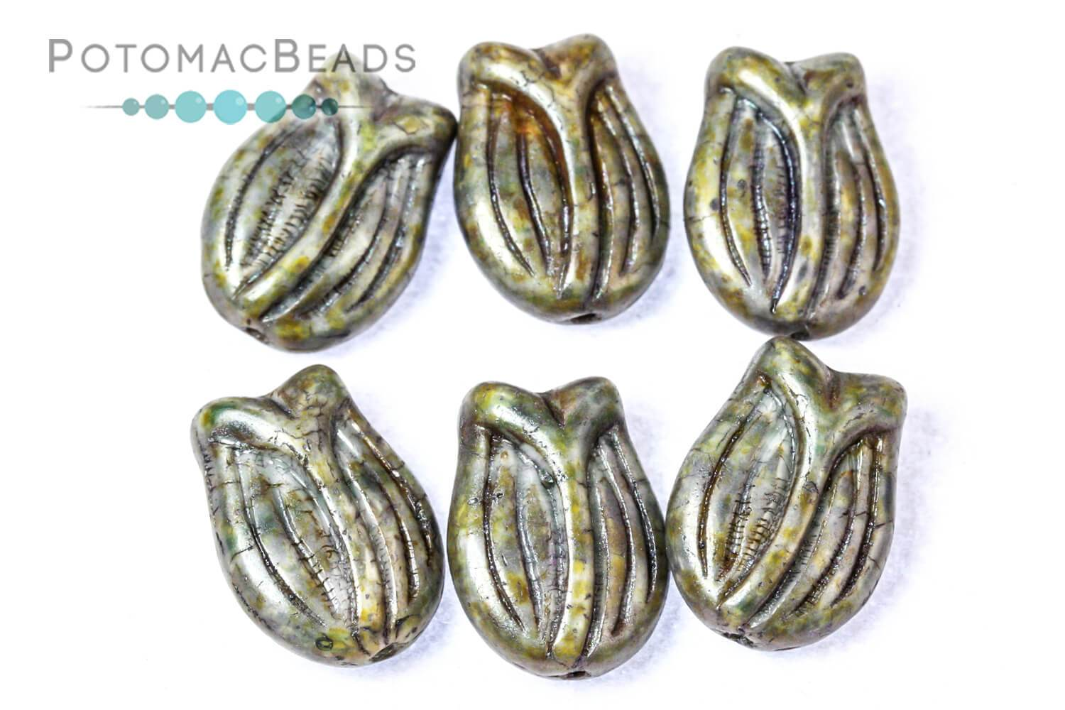 Czech Tulip Flower Beads 16x11mm - Spices Pepper (Pack of 6)