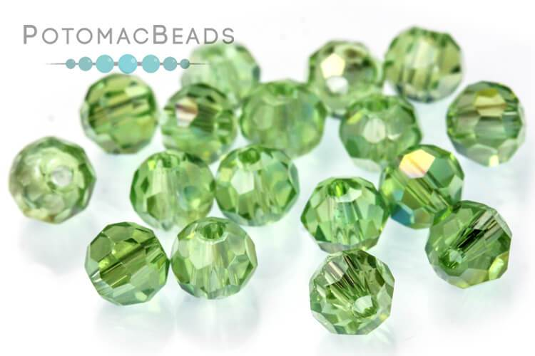 Potomac Crystal Round - Light Peridot AB 4mm