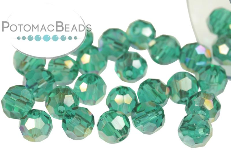 Potomac Crystal Round - Emerald AB 4mm
