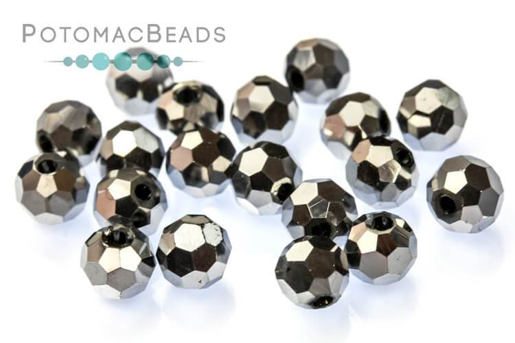Potomac Crystal Round - Metallic Silver 4mm