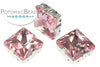 Potomac Crystal Square Setting - Light Rose 12mm