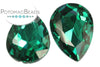 Potomac Crystal Pear Drop - Emerald 13x18 mm