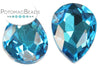 Potomac Crystal Pear Drop - Aqua 13x18 mm