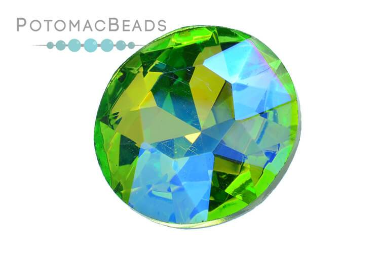 Potomac Crystal Fancy Stone - Peridot AB 27mm Round