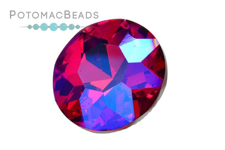 Potomac Crystal Fancy Stone - Fuchsia AB 27mm Round