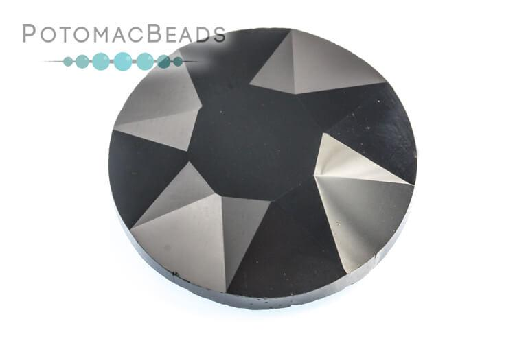 Potomac Crystal Fancy Stone - Jet 27mm Round
