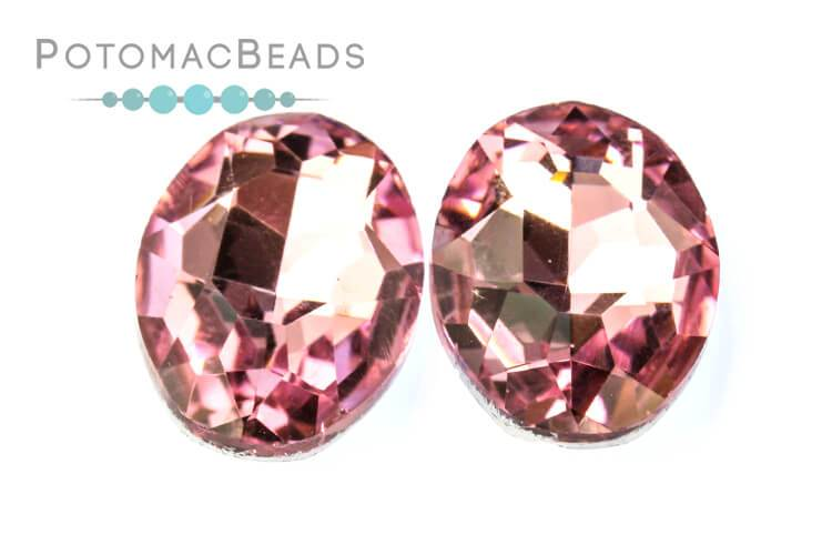 Potomac Crystal Ovals - Light Rose 13x18mm