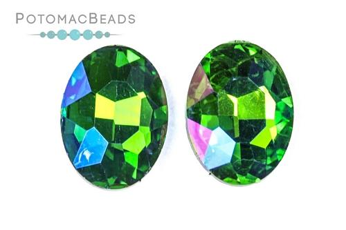 Potomac Crystal Ovals - Emerald AB 13x18mm