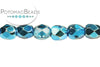 Czech Faceted Round - Aqua Metallic 4mm