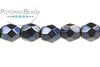 Czech Faceted Round - Metal Dark Blue 4mm