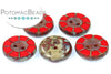 Table Cut Button - Opaque Red Travertine