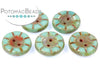 Table Cut Button - Opaque Green Turquoise Travertine