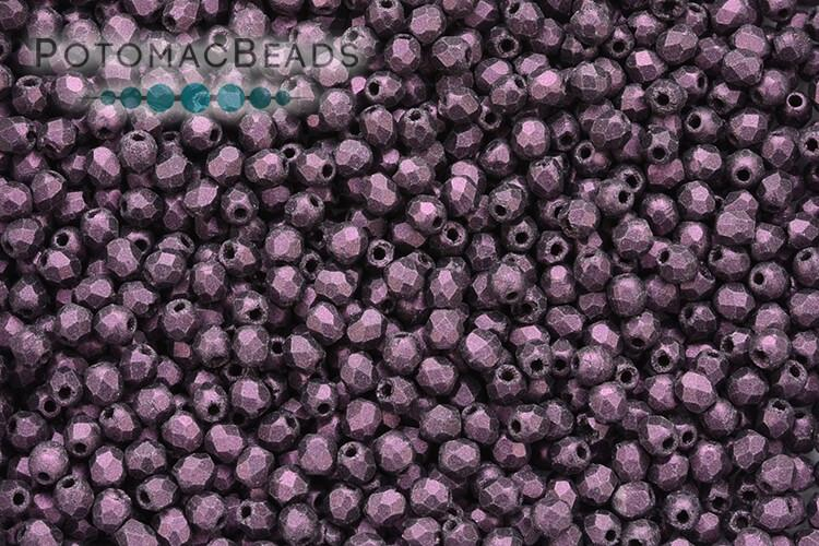 Czech Faceted Round 2 mm - Pink Metallic Suede